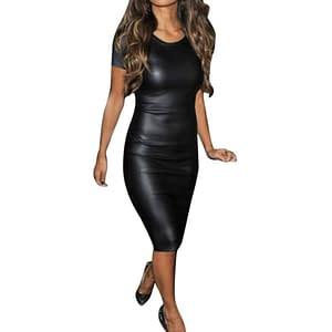 vestido de piel sintetica