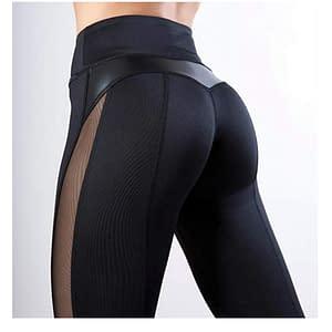 Ecoine - Leggings de malla de piel sintética para mujer