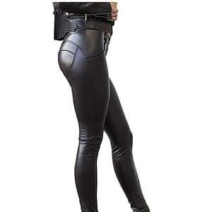 Seasum - Mallas de piel sintética para mujer, con forma elástica de poliuretano